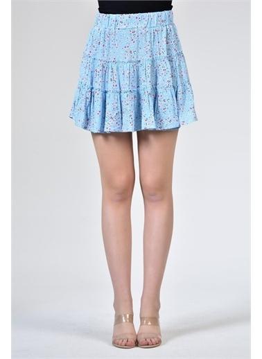 Rodi Jeans Kadın Katlı Kısa Çiçekli Etek DS21YB071871 Mavi